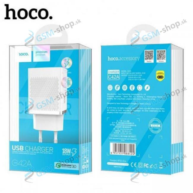 USB adaptér HOCO C42A Quick Charge 3.0 biely