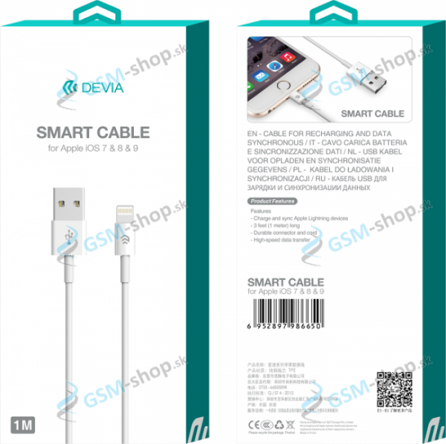 Datakábel DEVIA iPhone Lightning biely 1 meter