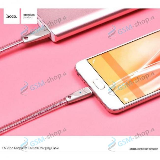 Datakábel iPhone Lightning HOCO Jelly Knitted U9 Rose Gold 1,2 metra