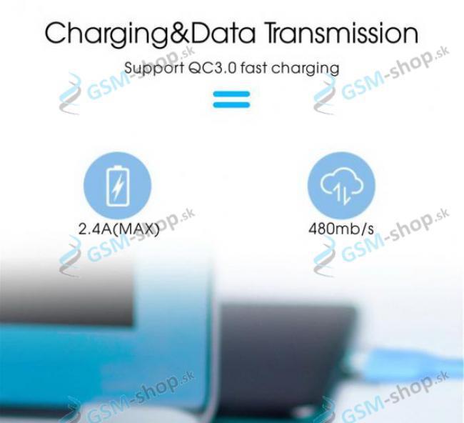 Dátový a nabíjací kábel USB-C silikón 1 meter modrý