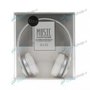 Slúchadlá GJBY GJ-22 MUSIC s mikrofónom 3,5 mm - biele