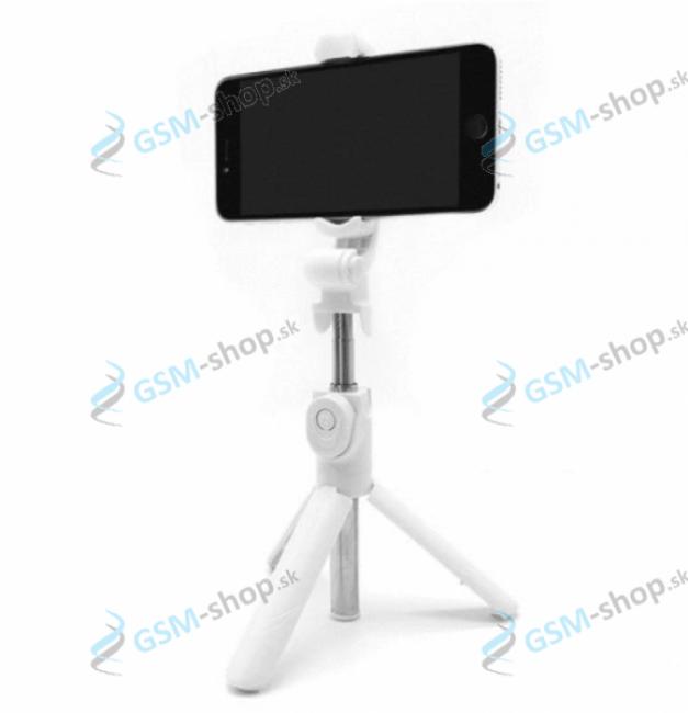 Selfie držiak a statív na mobil s bluetooth ovládaním biely
