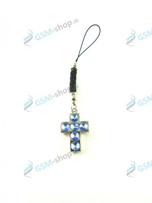 Prívesok Cross 6 - modrý Sapphire