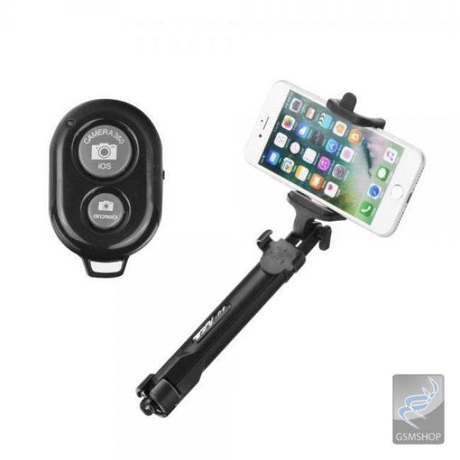 Selfie držiak a statív na mobil s BlueTooth ovládaním do ruky čierny