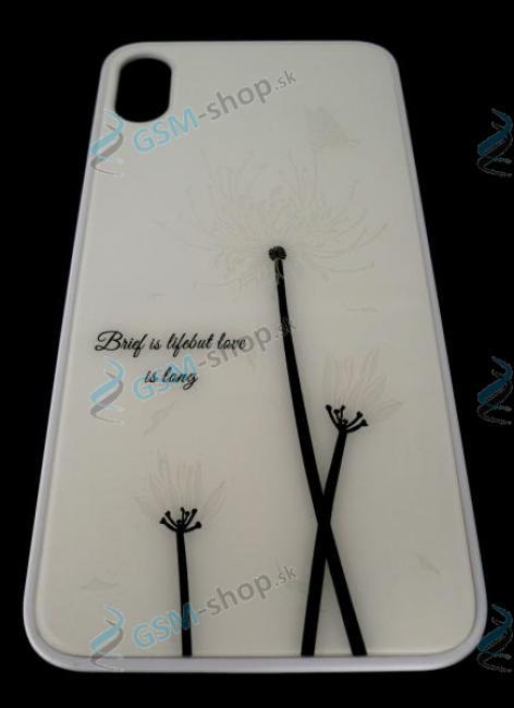 Ochranný kryt GLASS iPhone X, iPhone XS biely s motívom kvetov