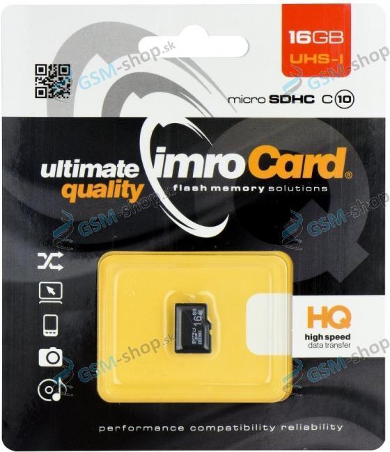 Pamäťová karta Micro SD 16 GB SDHC, trieda 10