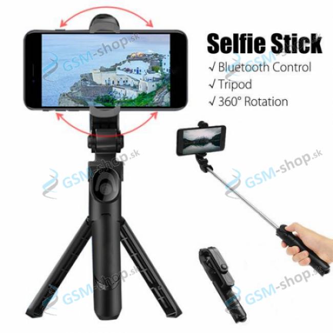 Selfie držiak a statív na mobil s bluetooth ovládaním čierny