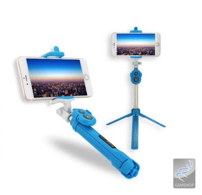 Selfie držiak a statív na mobil s BlueTooth ovládaním modrý