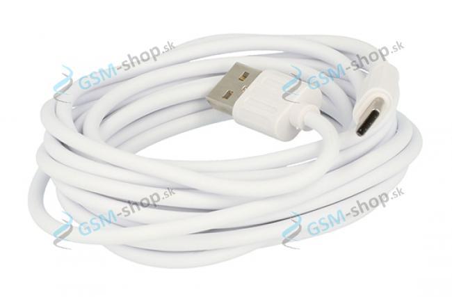 Datakábel USB typ C, 3 metrový biely