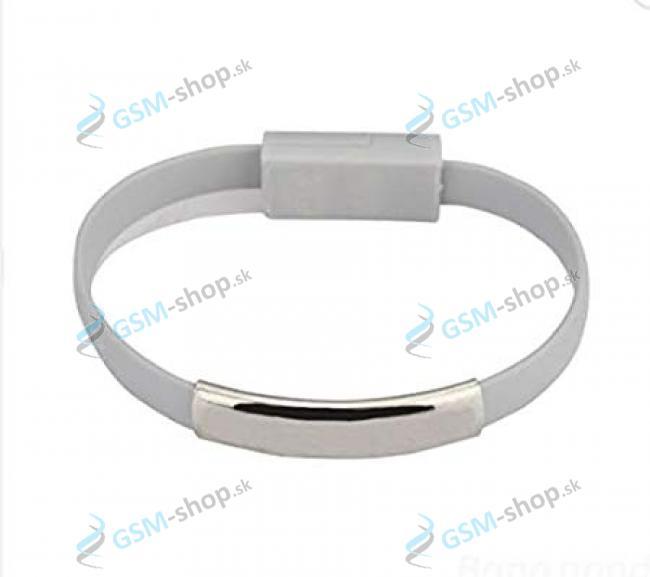 Datakábel náramok micro USB sivý