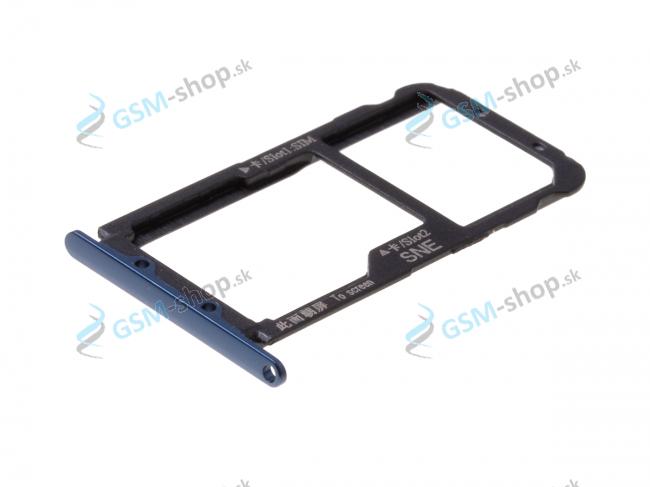 Sim a Micro SD držiak Huawei Mate 20 Lite modrý Originál